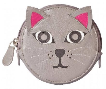 Pinky Cat Round Leather Grey Coin Purse